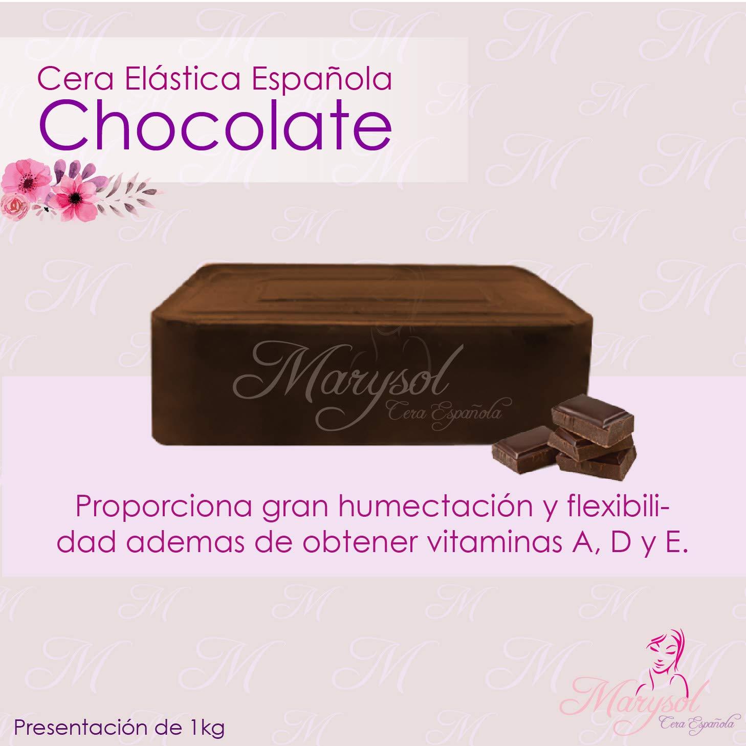 Cera Depiladora de Chocolate Española Elastica Marysol hard wax Depilacion sin Bandas No-Strip Disposable Wax Salon Spa estetica Vello Corporal Facial Bikini Epilacion Epilatoria