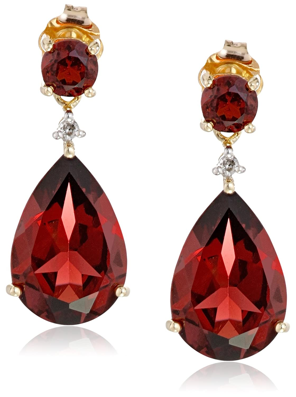 10k Yellow Gold Gemstone and Diamond Drop Earrings (2 cttw, I-J Color, 12-13 Clarity)