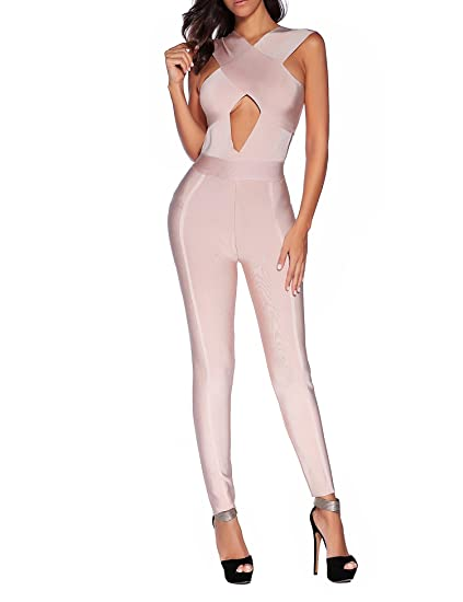4d59d6d76907 Amazon.com  Women s Rayon Bodysuit Pants Hollow Out Bodycon Romper Party Bandage  Jumpsuit  Clothing