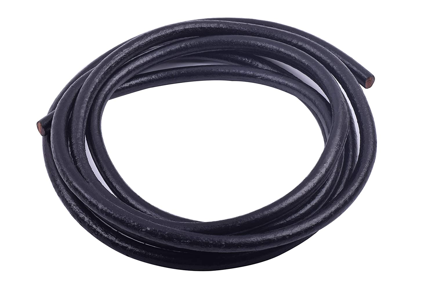 KONMAY 5 Yards 5.0mm Solid Round Real Leather Cord for Jewelry Making Crafting Beading Dark Natural