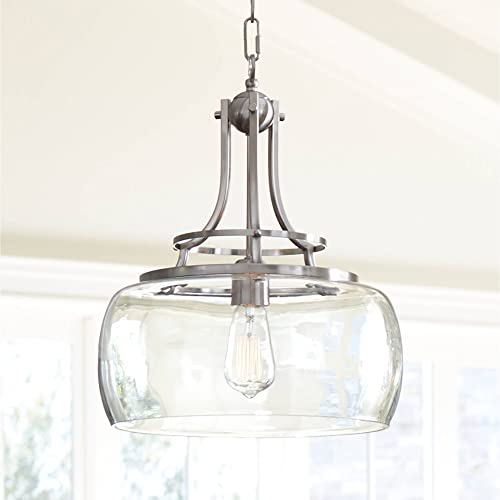 Charleston Brushed Nickel Pendant Light 13 1 2 Wide Farmhouse Clear Glass LED Edison Fixture for Kitchen Island Dining Room – Franklin Iron Works