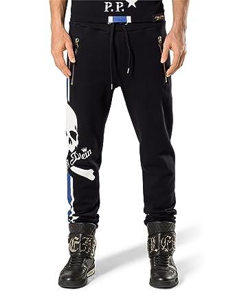 b77ea0c9af3 Philipp Plein - Pantalon - Homme Noir Noir Bleu  Amazon.fr ...