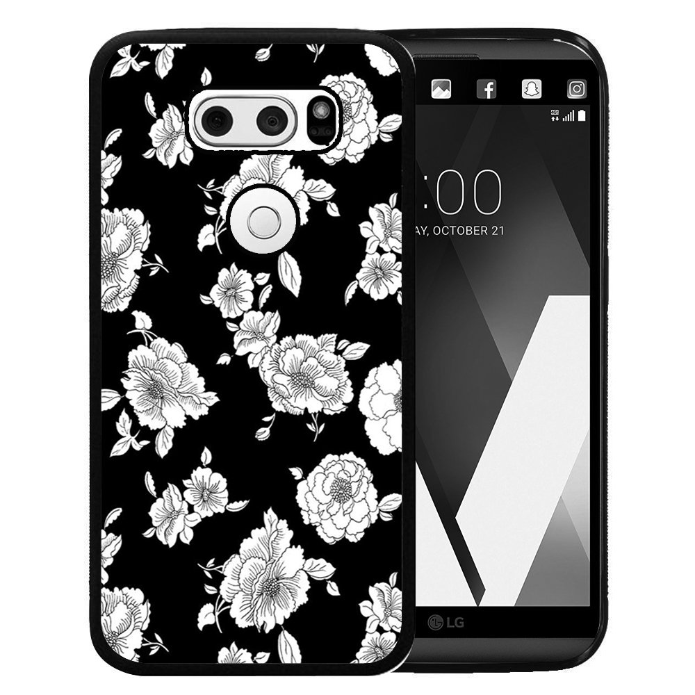 LG V20 Case, Customized Black Soft Rubber TPU Case For LG V20 2016 - Black White petal in the dark
