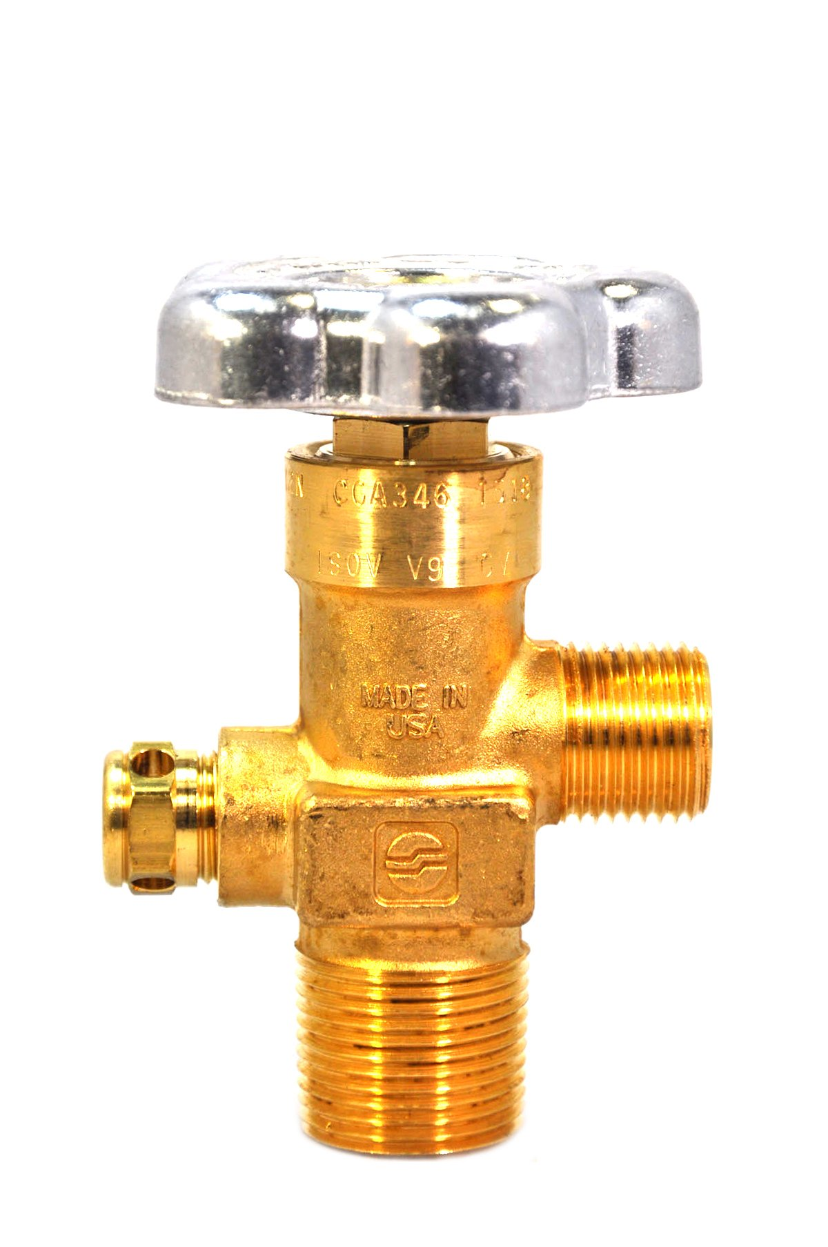 Sherwood Compressed Gas Global Valve CGA 346 4000 PSI 3/4NGT Heavy-Duty Forged Brass Body (GV34661-38)