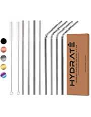 HYDRATE Stainless Steel Straws - Reusable, Eco Friendly - BPA Free Metal Straw - Many Colour Options (8 Pack, Silver)