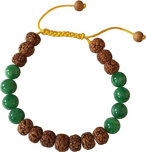 Amazon.com: Tibetano Mala Rudraksha y verde jade muñeca mala ...