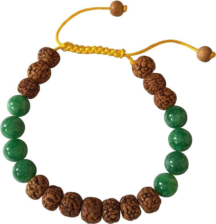 Hands Of Tibet Tibetano Mala Rudraksha y Verde Jade muñeca ...