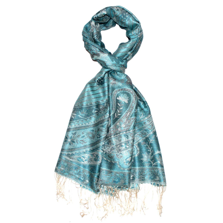 Lorenzo Cana Luxus Pashmina Schal Schaltuch jacquard gewebt 100/% Seide 70 x 190 cm Paisley Muster Seidenschal Seidentuch Seidenpashmina harmonische Farben