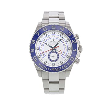 48e2d410d Image Unavailable. Image not available for. Color: Rolex Yacht Master II White  Dial Blue Bezel Stainless Steel Automatic Mens Watch 116680WAO