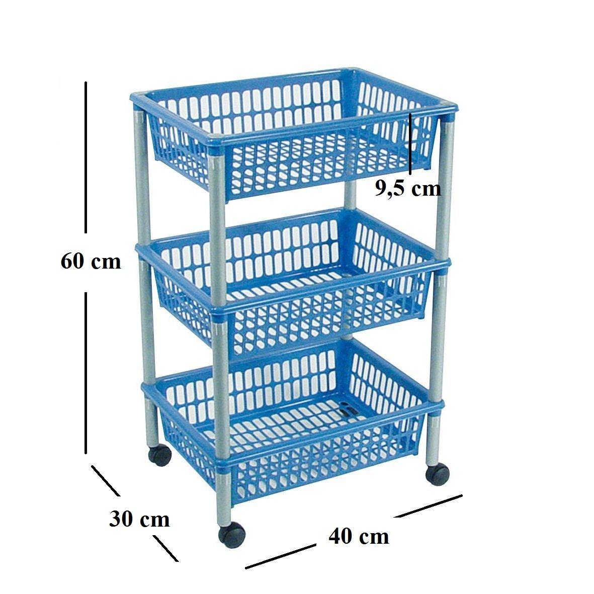 Ducomi - Carro portaobjetos con ruedas, carro con estantes multiusos para organizar los espacios domésticos, ideal para baño, cocina, sala y garaje