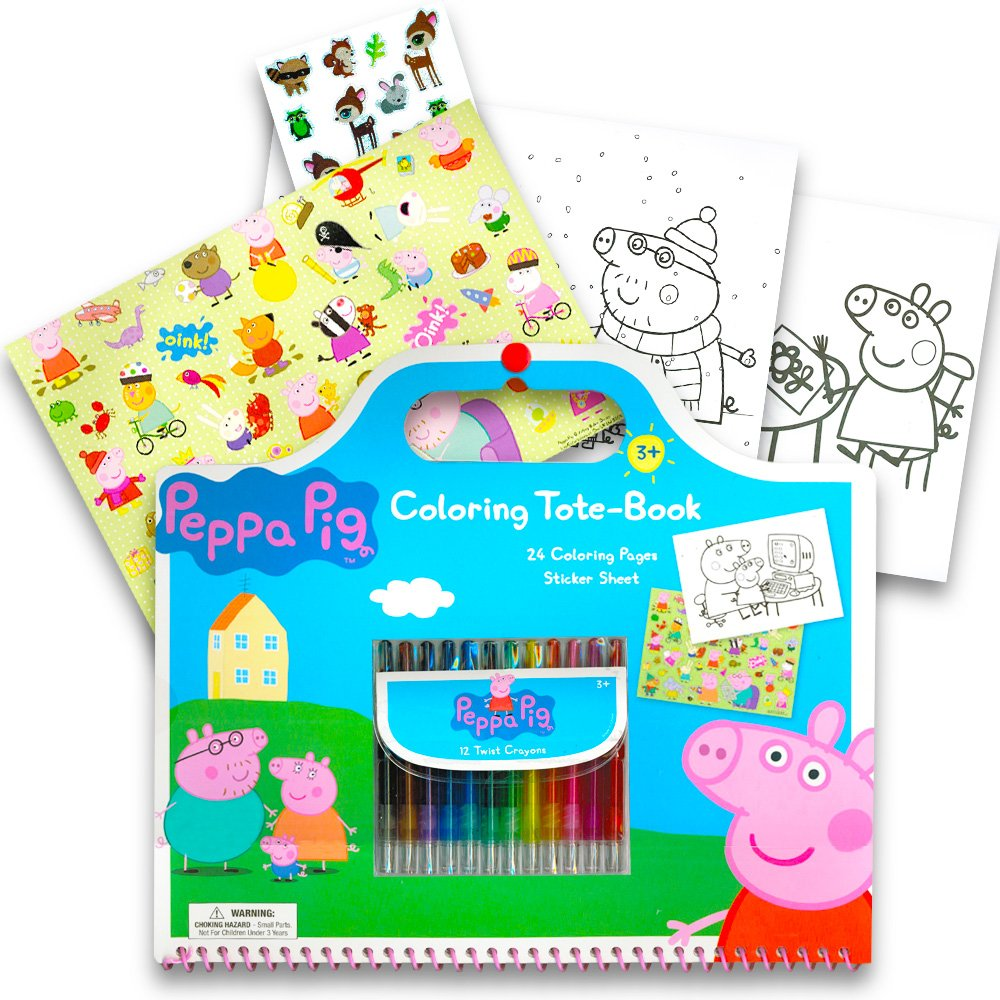 amazon com peppa pig giant coloring book tote set with peppa pig