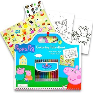 peppa pig colouring book and crayons coloring page
