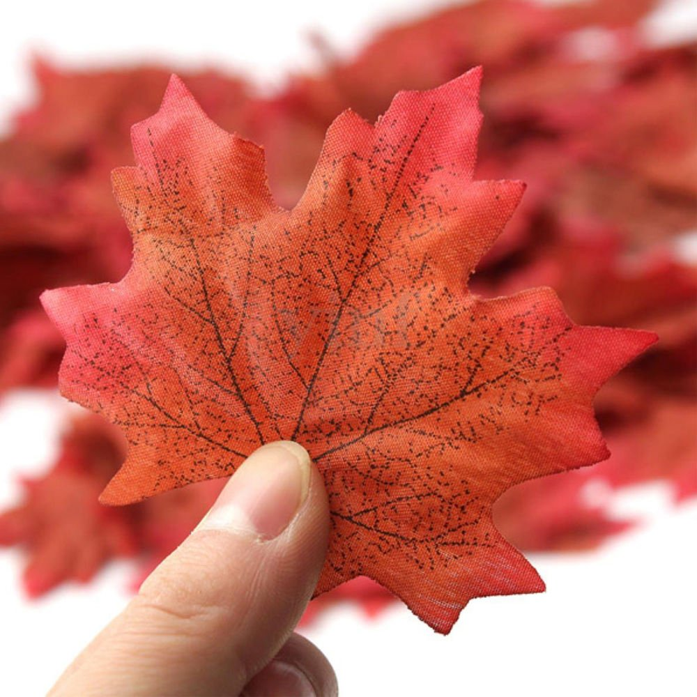 300pcs Artificial Fall Maple Leaves, 6 Mixed Colors Fall Leaves for Wedding, Festival and Events Outdoor Decorations by Ndier