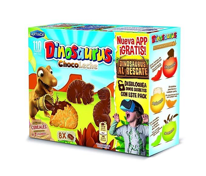 Dinosaurus - ChocoLeche - Galleta de cereales con chocolate con leche - 8 paquetes - [