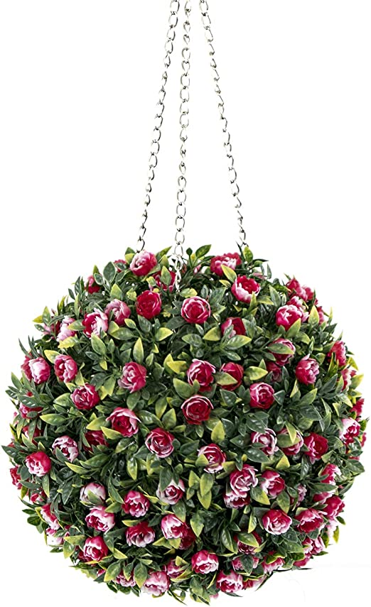Artificial Lavender Topiary Flower Ball Hanging Basket Plant Garden Store Decor