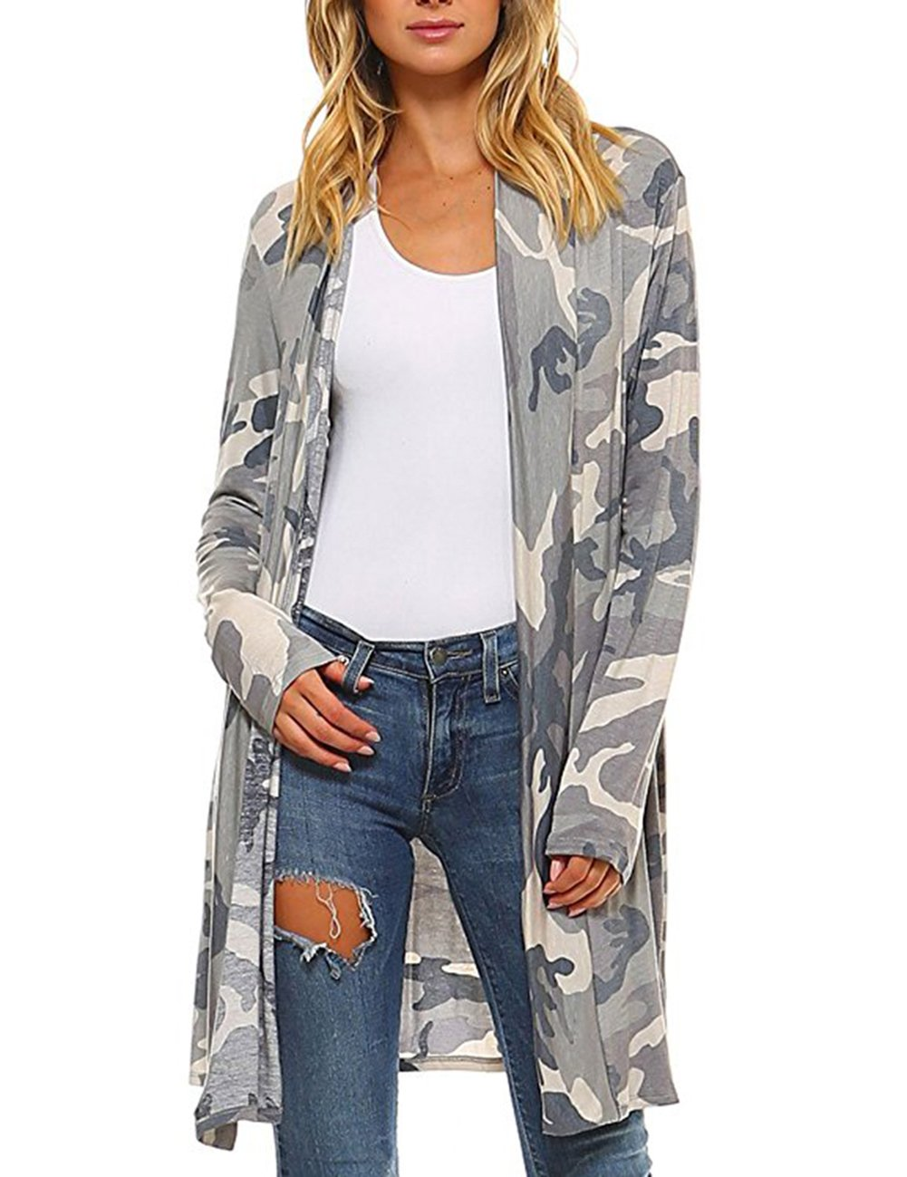 XARAZA Women Floral Long Sleeve Cardigan, Open Front Coverup Outwear Tops