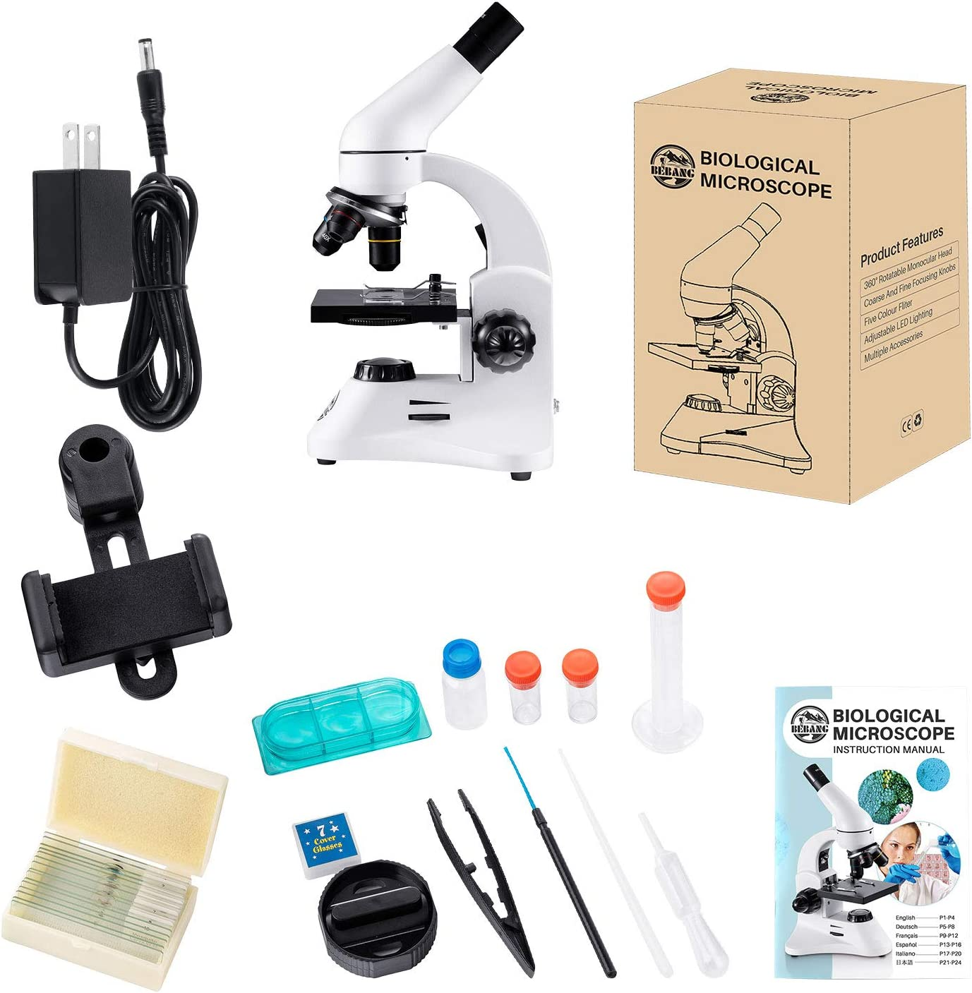 PRO Microscope for Kids Students Adults,40X-1000X with 15 Prepared Slides Lab Compound Monocular Microscopes Kit fit for iPhone