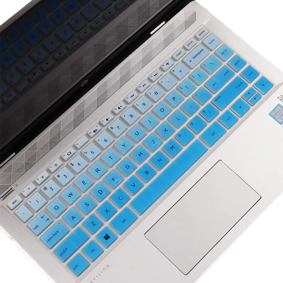 "Keyboard Cover Design for HP Pavilion x360 14"" Laptop 14M-BA 14M-CD 14-BF 14-BW 14-cm Series 14M-BA011DX 14M-BA013DX 14M-BA015DX 14M-BA114DX 14M-CD0001DX 14M-CD0003DX -Gradual Blue"