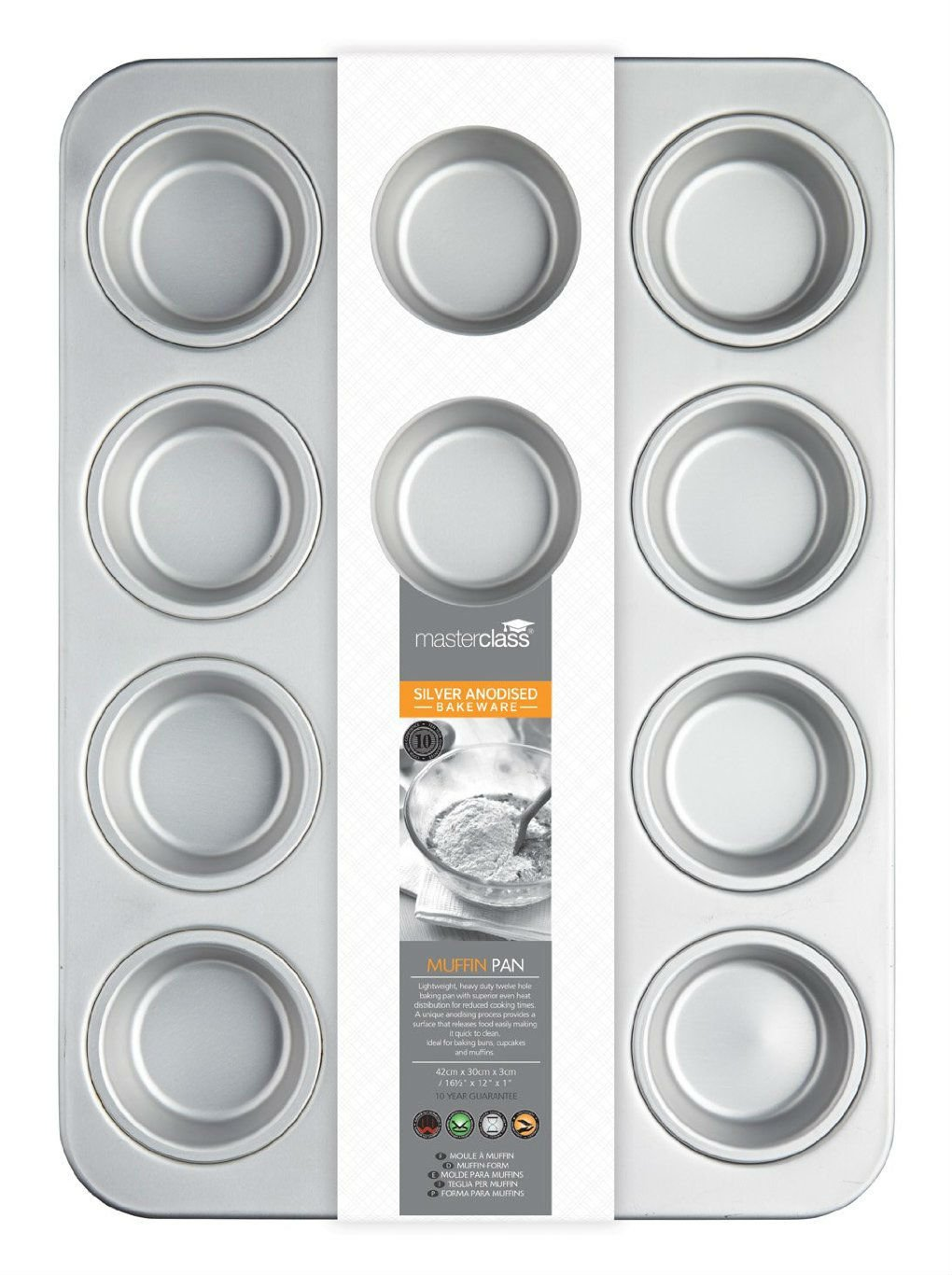 Moules à Muffins Masterclass Silver Anodised 42cm Muffin Pan High Quality And Inexpensive Articles Pour Le Four