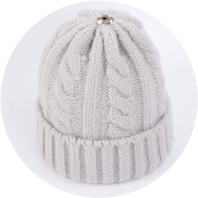 a7624f61 Amazon.com: Wool Knit Beanies Fur Pom-Pom Soft Cap Winter Hat ...