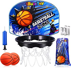 iBaseToy Indoor Basketball Hoop for Kids - 2 in 1 Mini Basketball Hoop Set for Door in Home Office with Laundry Bag, Balls | Hand Pump, Slam-Dunk Game for Boys Adults, Basketball Toy Gifts for Teens