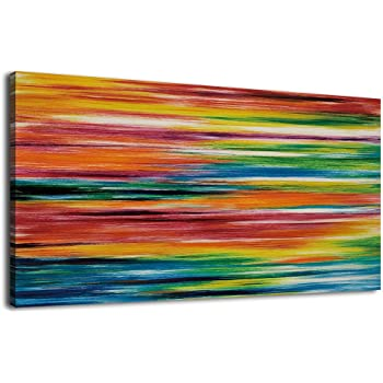 ArteWOODS Large Canvas Art Prints Strips Abstract Painting Panoramic Canvas  Artwork Colorful Wall Art For Home