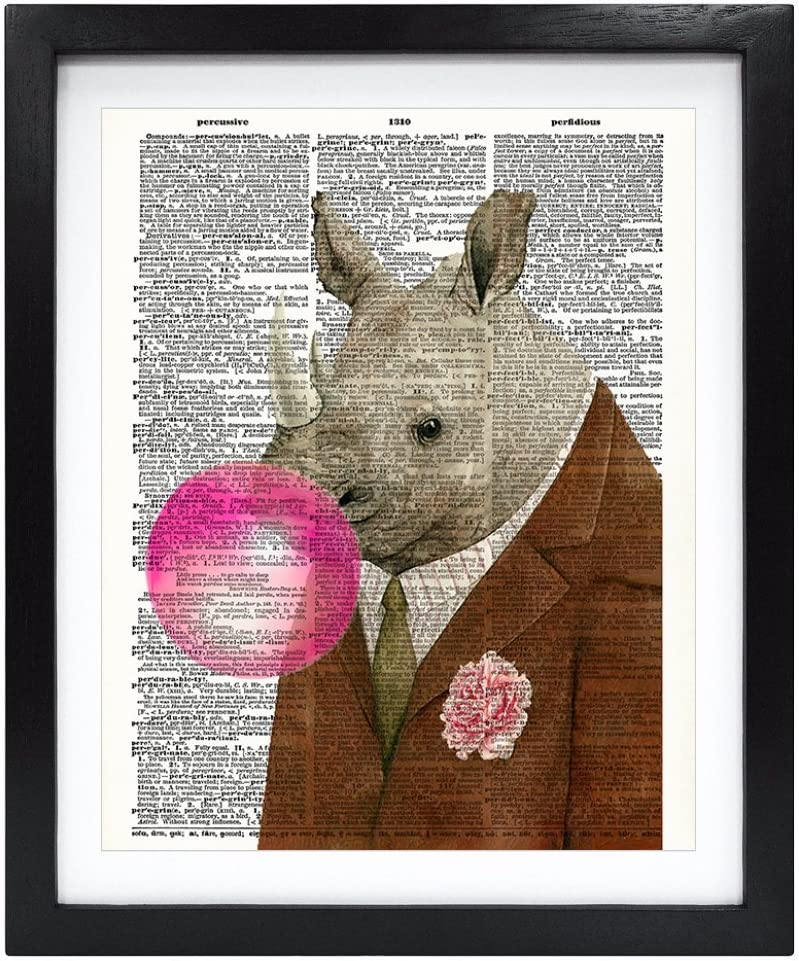 Susie Arts 8X10 Unframed Rhinoceros Rhino blowing pink Bubble Gum Bubble Upcycled Vintage Dictionary Art Print Book Art Print Home Decor Funny Wall Art V153