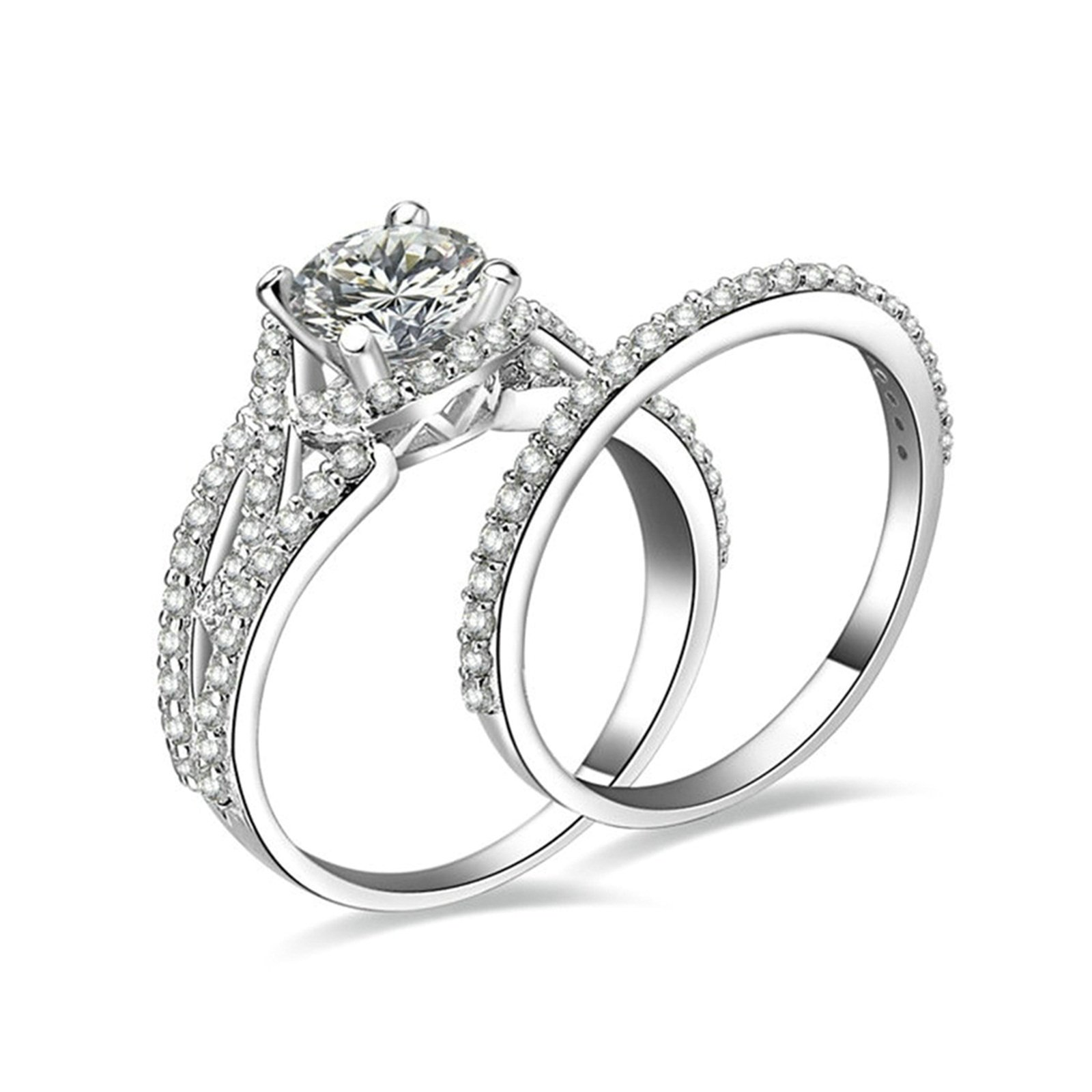 Daesar Engagement Rings Jewelry 4-Prong Setting Round White Cubic Zirconia Ring Set Ring Size 8