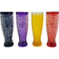 Freezable Double Wall Crackle Gel Tall Pilsener Beer Soda Lemonade Iced Tea Glasses Keep Drinks Cold