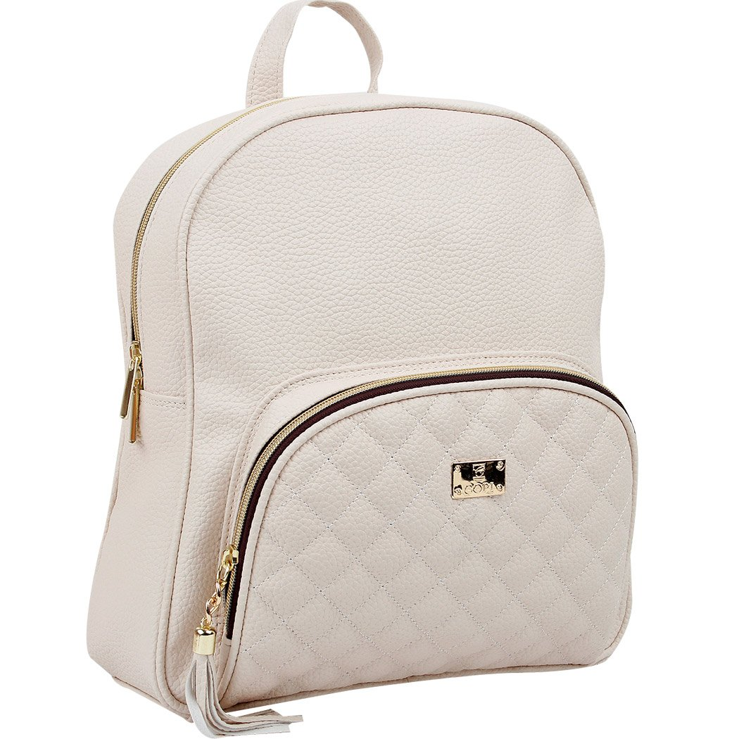 Copi Women's bags Lovely, feminine Round Shape Design Quilted Point Small Backpacks Ivory