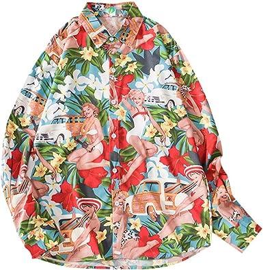 Camisas Hombre Manga Larga Camisetas Hombre Originales Camisas Hawaianas Hombre Ocio Suelto Camisas de Manga Larga con Impresa de Moda de otoño para Hombre Funky Camisa Hawaiana Rojo: Amazon.es: Ropa y accesorios