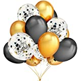 Birthday Party Decorations Balloons,15 Pcs Gold and Black Confetti Balloons Printed Happy Birthday and 30 Pcs Gold and Black Latex Party Balloons for Birthday Wedding Baby Shower Party Decorations