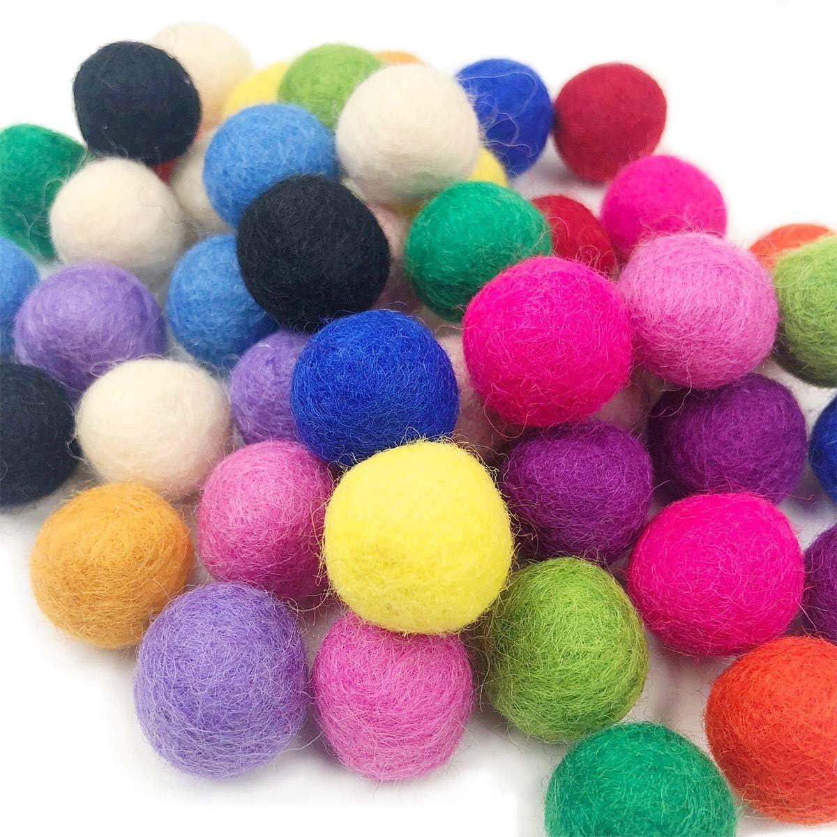 Felt Balls Handmade Felt Balls craft supplies felt beads  Nursery decor Wool Felt Balls Felted Balls Pom Poms 2 cm Felt Ball Garland