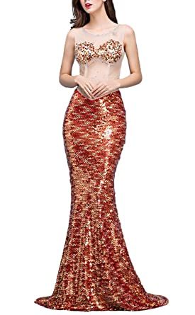 FANHAO Womens Sexy Gauze Luxury Sequins Mermaid Tail Gown Evening Prom Dress,Red,XS