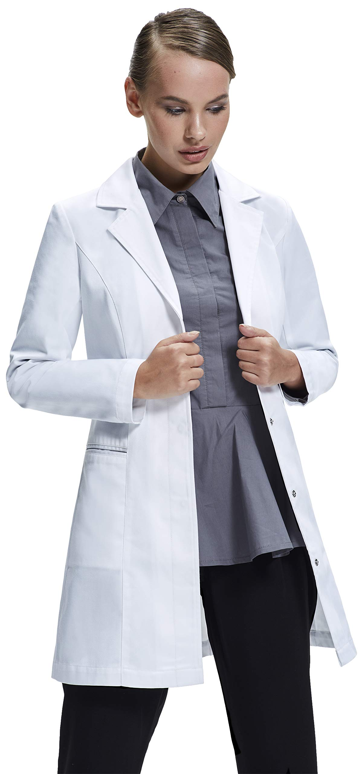Dr. James Stylish Tailored Fit Lab Coat for Petite Women • 34 Inch Length US 10 US-18-E