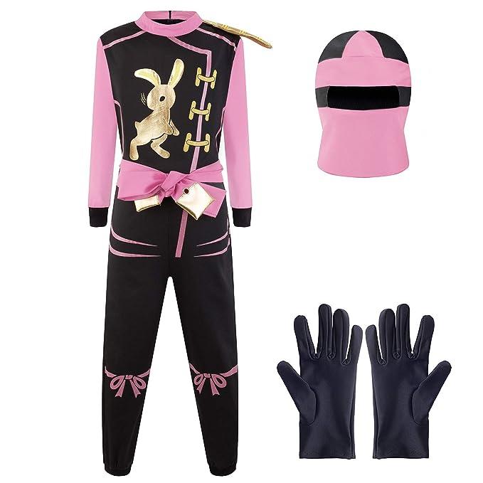 Katara Talla M (6-8 años) Disfraz de Ninja Dragón para Niña Carnaval, Cosplay, color rosa, (1771)