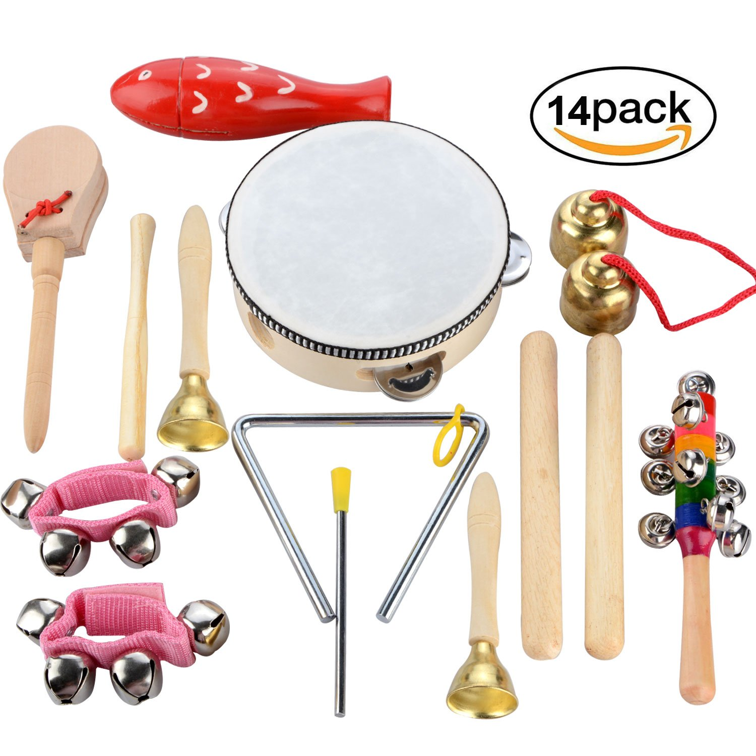 Povkeever 14 PCS Wooden Musical Instruments Set Percussion Toy