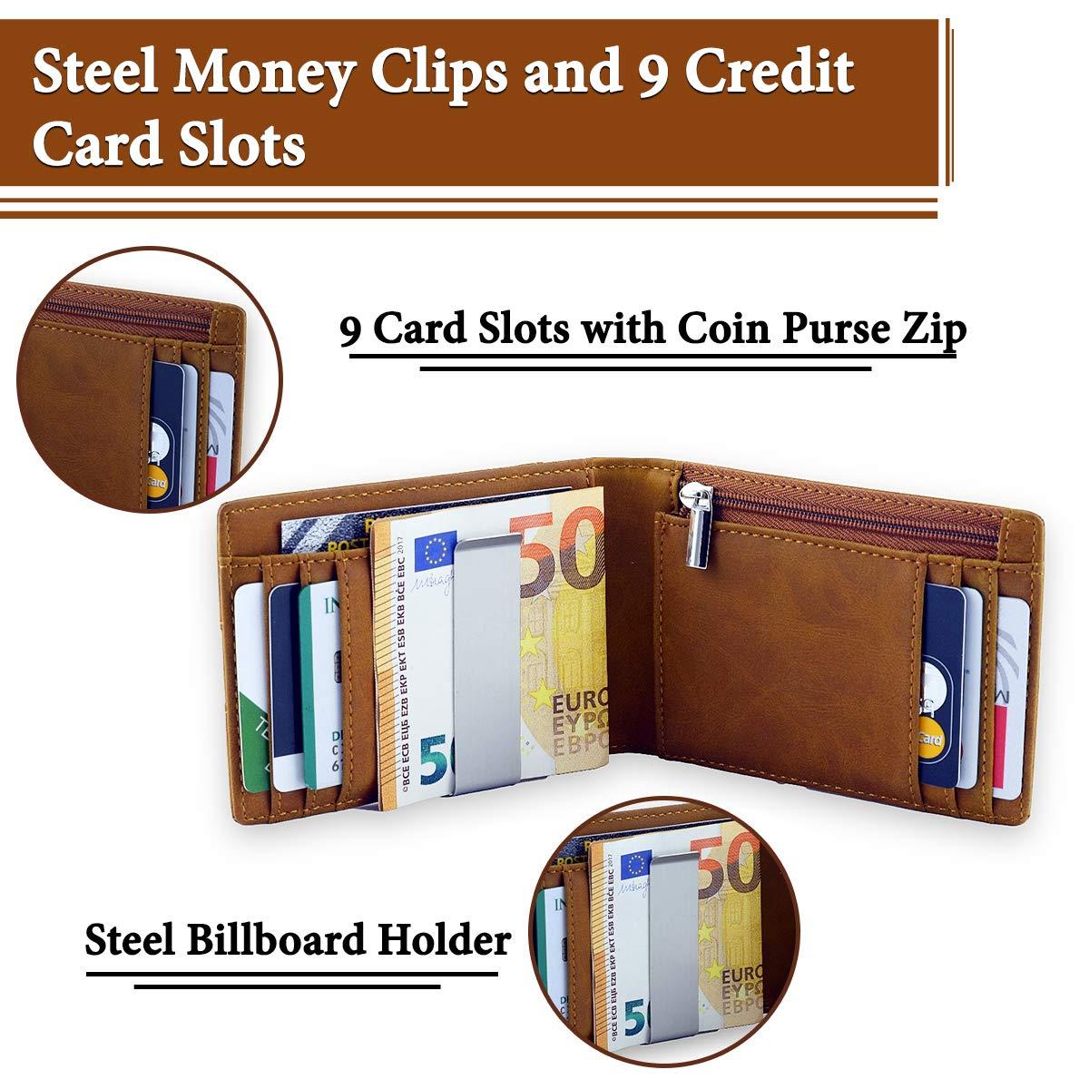 Geldbörse Herren mit Geldklammer - Kreditkartenetui mit Rfid Schutz - Völlig Abgeschirmt - Kompakt und Dünn mit Münzfach - Geschenkidee für Männer - Slim Design