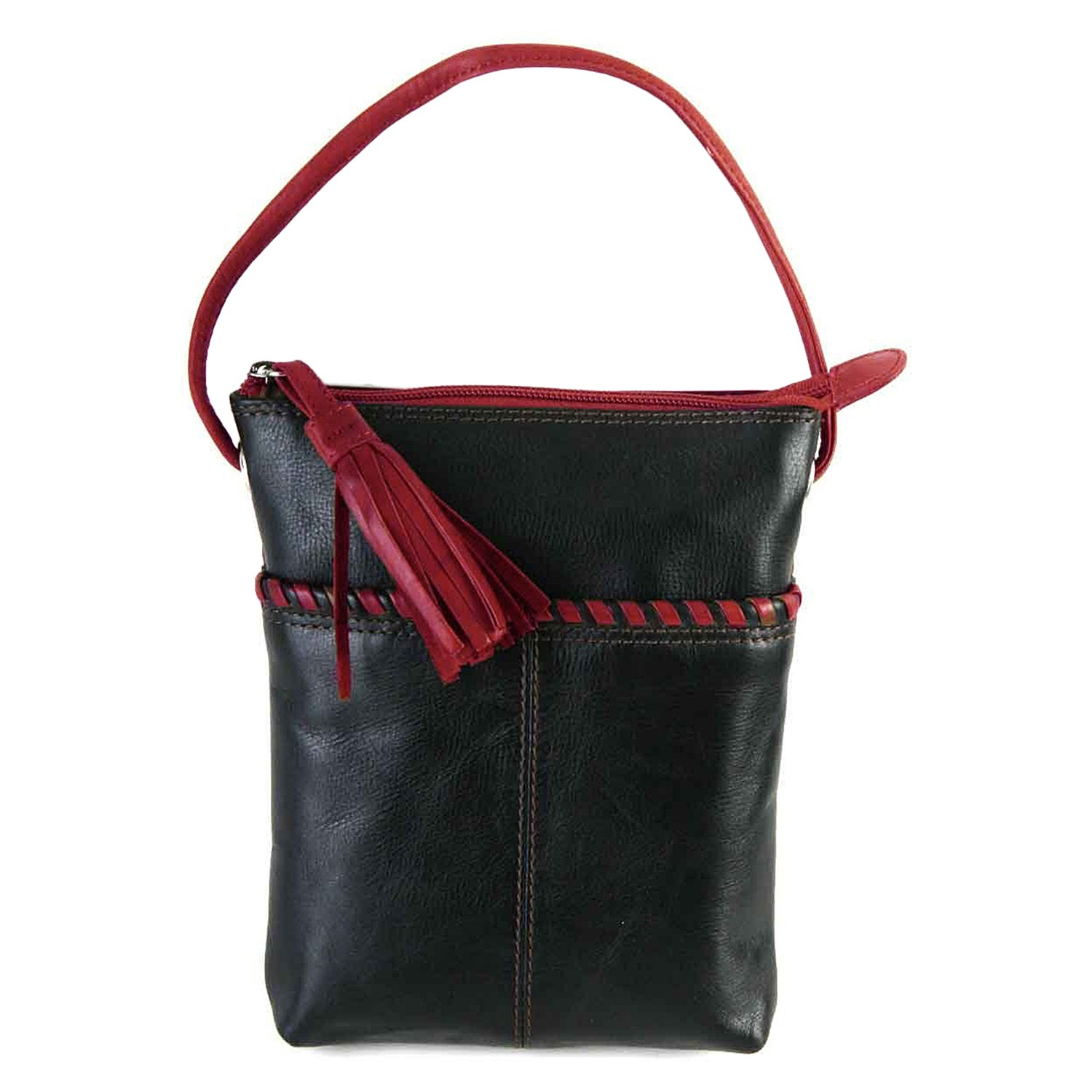 51eea23c6727 Whipstitched Leather Cross-body Handbag (Black/Red): Handbags: Amazon.com