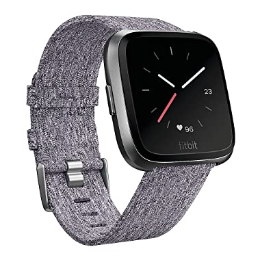 QIBOX Bands Compatible Fitbit Versa, Woven Fabric Wrist Strap Watch Special Edition Replacement Bands Classic Square Stainless Steel Buckle Compatible Fitbit Versa Smart Watch