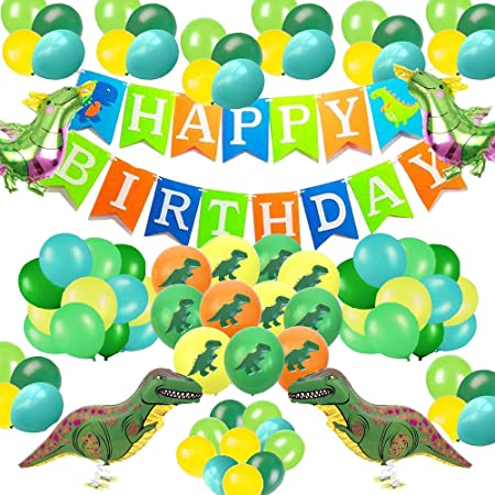 DAYPICKER decoracion de fiesta rosa con Feliz Cumpleaños globos, (dinosaur)