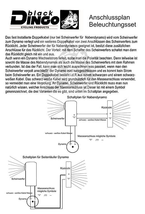 BDCP Fahrrad Nabendynamo Beleuchtungsset 8, LED-Scheinwerfer 35 Lux ...