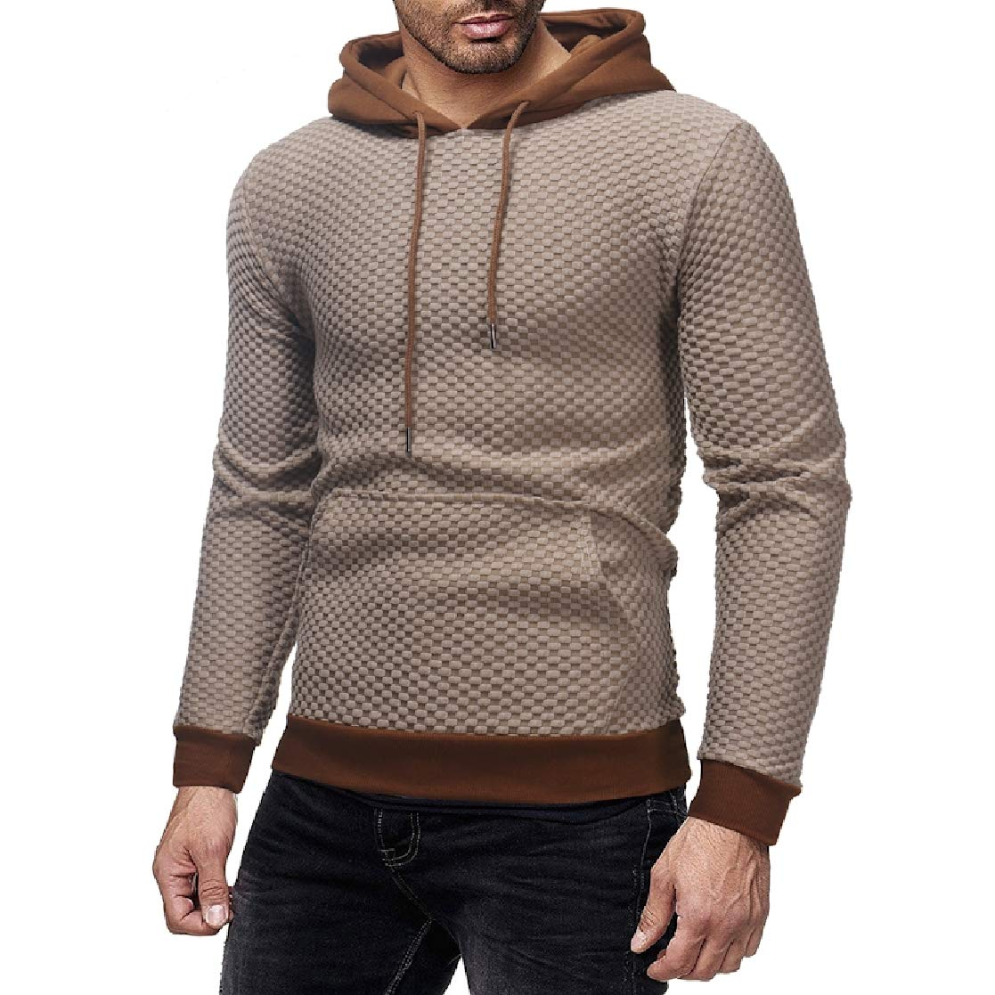 YUNY Mens Simple Hooded Outwear Plaid Big Pocket Pullover Tracksuit Top Off-White M