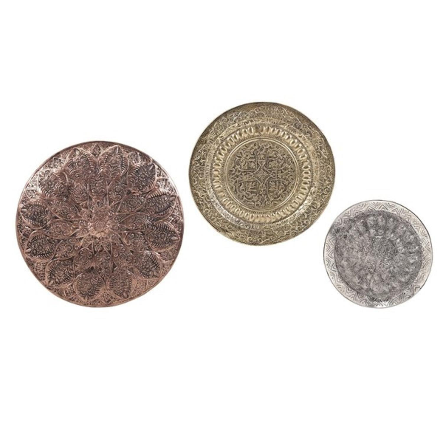 CC Home Furnishings Set of 3 Copper, Gold and Silver Decorative Patterned Aluminum Wall Chargers