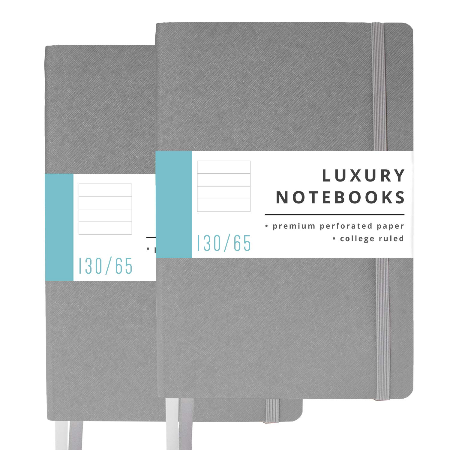 2 Pack Luxury Notebook Journal - 130 Perforated Pages - Thick Paper (120 gsm) - Lay Flat Design - 2 Bookmarks - Elastic Closure - Back Pocket, Set of 2, Softcover, Steel Gray (College Ruled) by Papercode