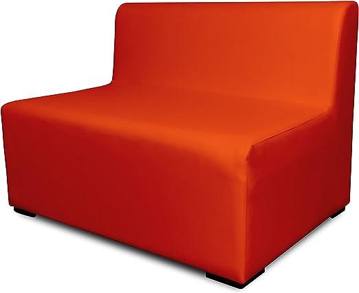SUENOSZZZ-ESPECIALISTAS DEL DESCANSO Sofa Exterior Modular Benahavis 2 Plazas Color Naranja tapizado en Polipiel Silva. Chill out Jardin o recepcion.: Amazon.es: Hogar