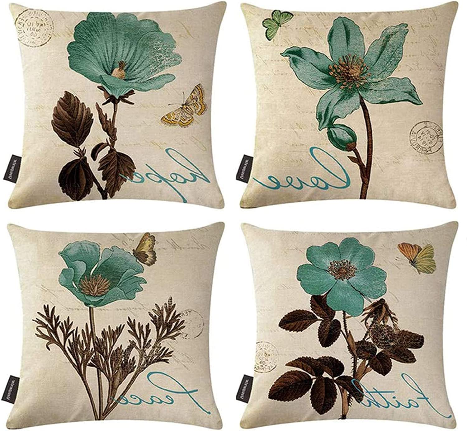 Bohemian Floral Cotton Velvet Fabric Cushion Cover Decorative Throw Pillow Case
