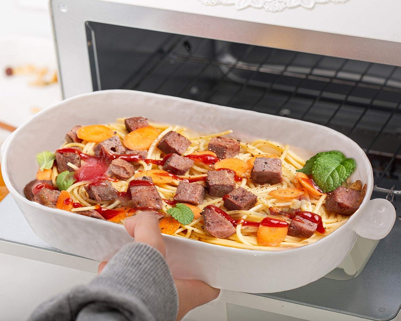 TGLBT Rectangular Baking Dish Ceramic,Porcelain Ear Form Handle Baker Lasagna Casserole Dish Pans,For Cooking Cake Dinner Kitchen Bakeware,12.2 x 6.3 Inch,White