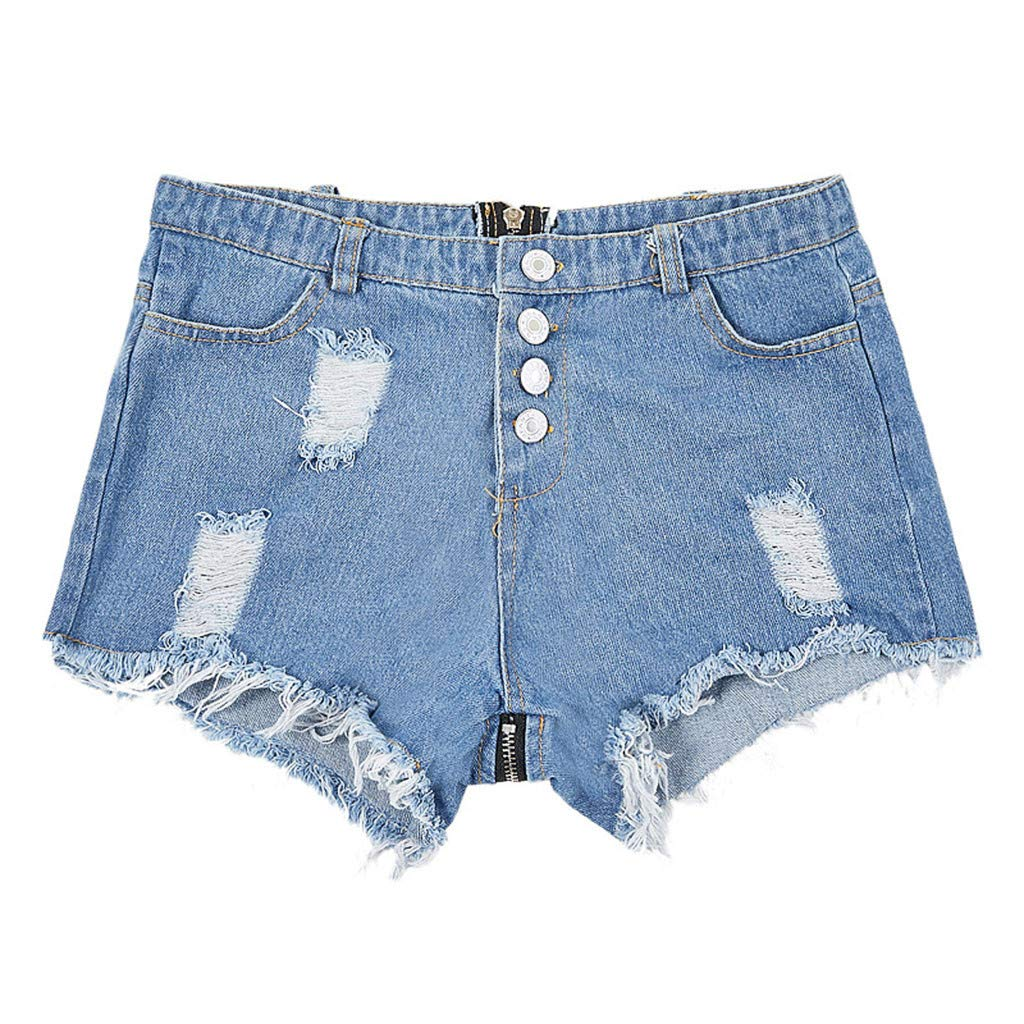 Tomppy Women Denim Shorts Casual Summer Button Fly Frayed Raw Hem Ripped Short Jean Pants Fashion Distressed Shorts