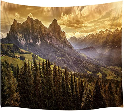 Fog Mountain Pine Forest Scenery Tapestry for Living Room Dorm Wall Hanging Rug